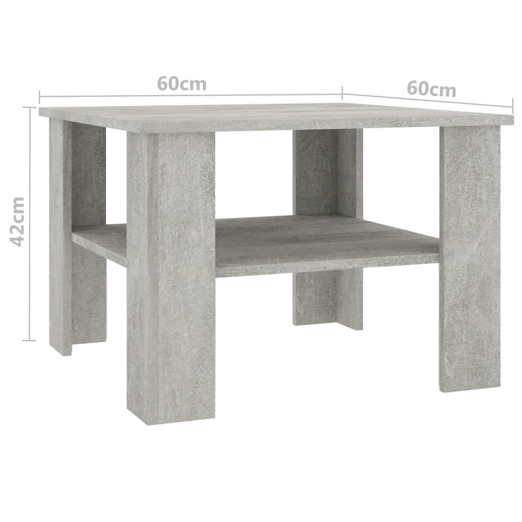 vidaXL Măsuță de cafea, gri beton, 60 x 60 x 42 cm, PAL