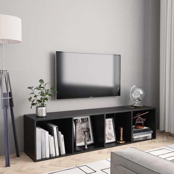 vidaXL Bibliotecă/Comodă TV, negru, 143 x 30 x 36 cm
