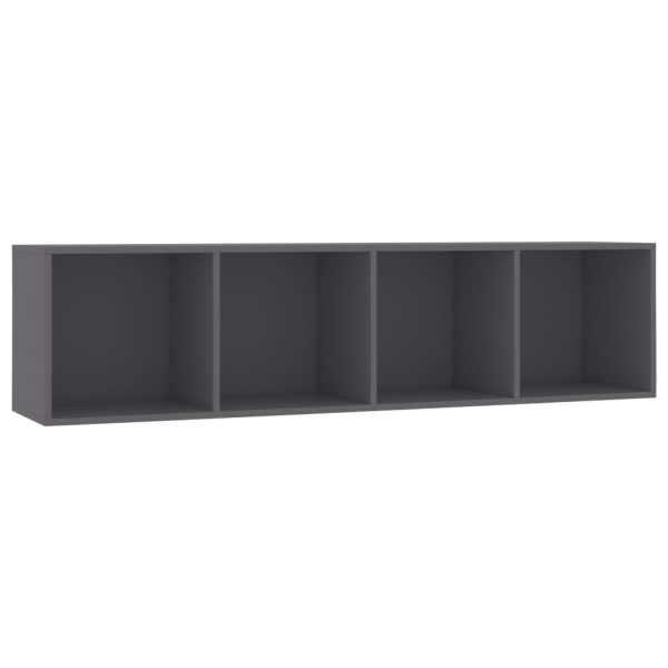 Bibliotecă/Comodă TV, gri, 143 x 30 x 36 cm