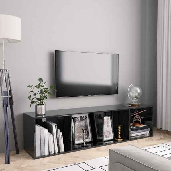 vidaXL Bibliotecă/Comodă TV, negru extralucios, 143 x 30 x 36 cm