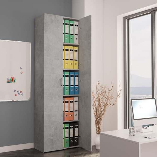 vidaXL Dulap de birou, gri beton, 60x32x190 cm, PAL
