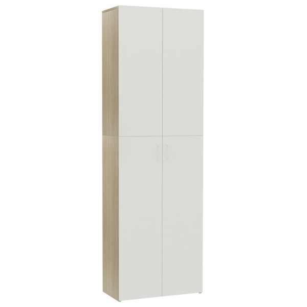 Dulap de birou, alb și stejar Sonoma, 60x32x190 cm, PAL
