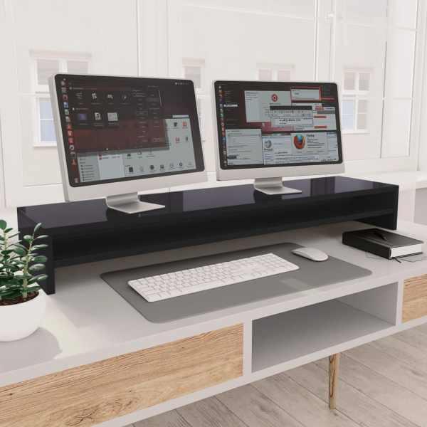 vidaXL Suport monitor, gri foarte lucios, 100 x 24 x 13 cm, PAL