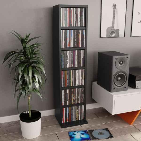 vidaXL Dulap CD-uri, negru, 21x20x88 cm, PAL