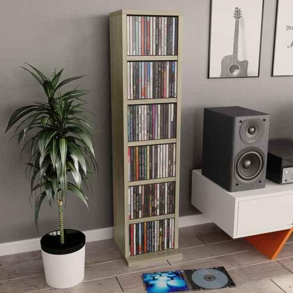 vidaXL Dulap CD-uri, stejar Sonoma, 21 x 20 x 88 cm, PAL