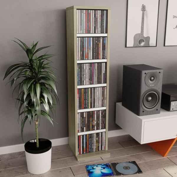 vidaXL Dulap CD-uri, alb și stejar Sonoma, 21x20x88 cm, PAL