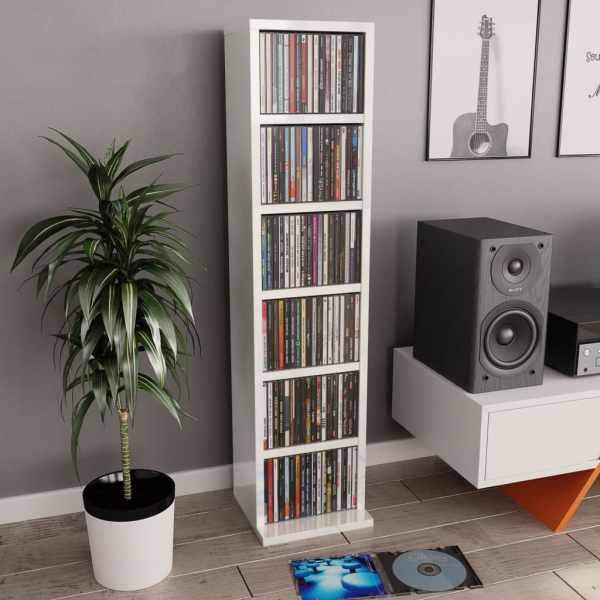 vidaXL Dulap CD-uri, alb extralucios, 21 x 20 x 88 cm, PAL