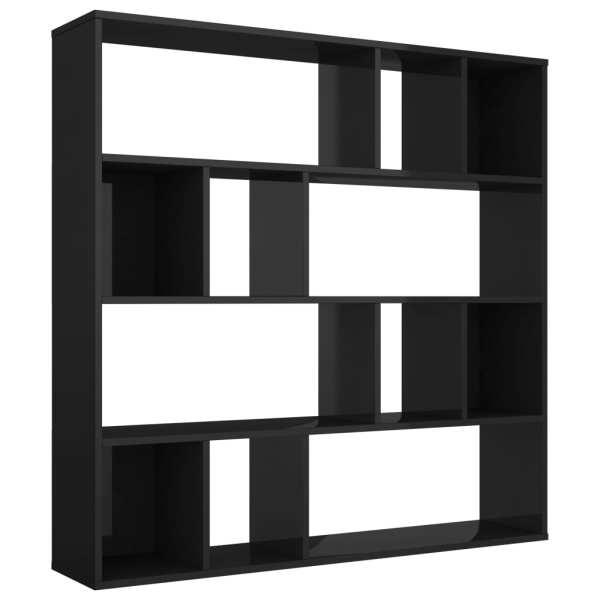 Bibliotecă/Separator cameră negru extralucios 110x24x110 cm PAL