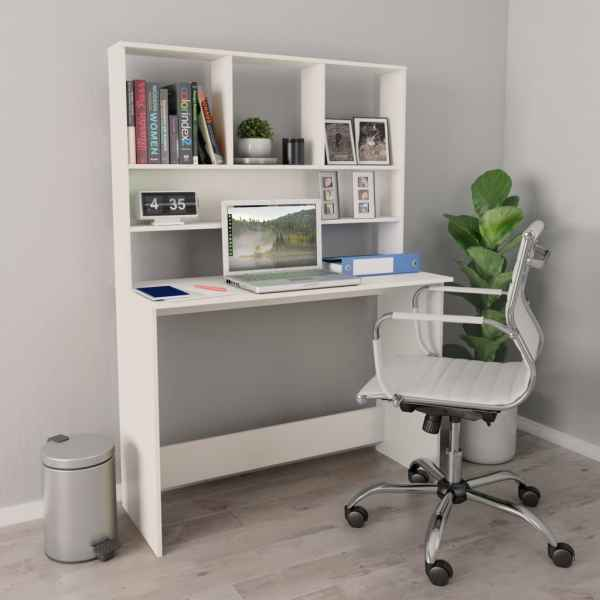 vidaXL Birou cu rafturi, alb, 110 x 45 x 157 cm, PAL