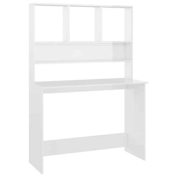 Birou cu rafturi, alb foarte lucios, 110 x 45 x 157 cm, PAL