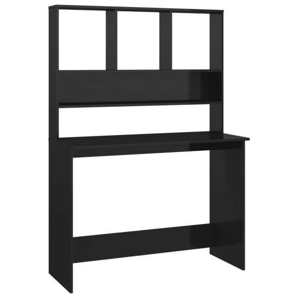 Birou cu rafturi, negru extralucios, 110x45x157 cm, PAL