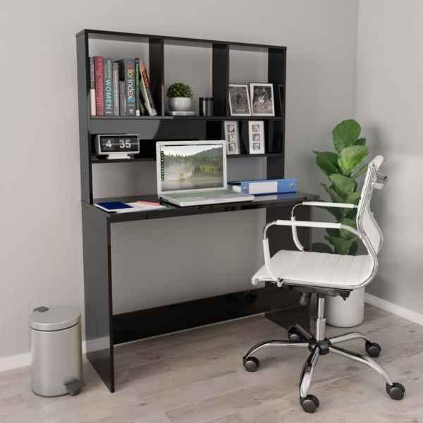 vidaXL Birou cu rafturi, negru extralucios, 110x45x157 cm, PAL