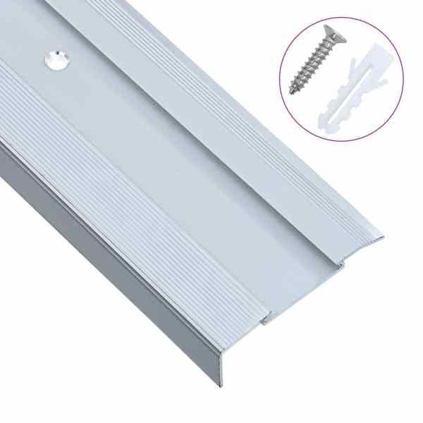 vidaXL Profile trepte formă de L, 15 buc., argintiu, 134 cm, aluminiu