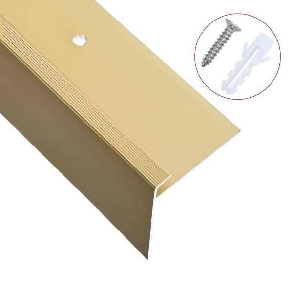 vidaXL Profile trepte în formă de F, 15 buc., auriu, 90 cm, aluminiu