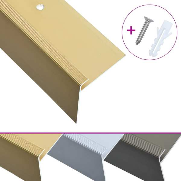 Profile trepte în formă de F, 15 buc., auriu, 100 cm, aluminiu