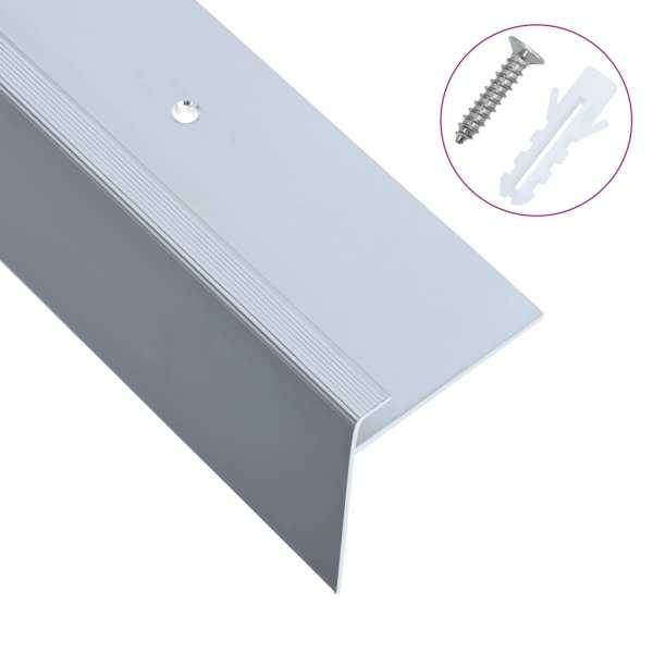vidaXL Profile trepte formă de F, 15 buc., argintiu, 134 cm, aluminiu