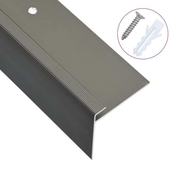 vidaXL Profile trepte în formă de F, 15 buc., maro, 100 cm, aluminiu