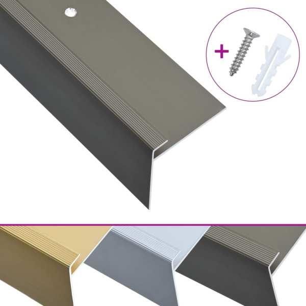 Profile trepte în formă de F, 15 buc., maro, 100 cm, aluminiu