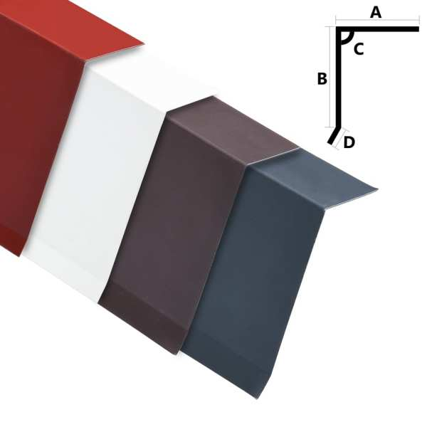 vidaXL Plăci bordură acoperiș în L, 5 buc, roșu, 170 cm, aluminiu