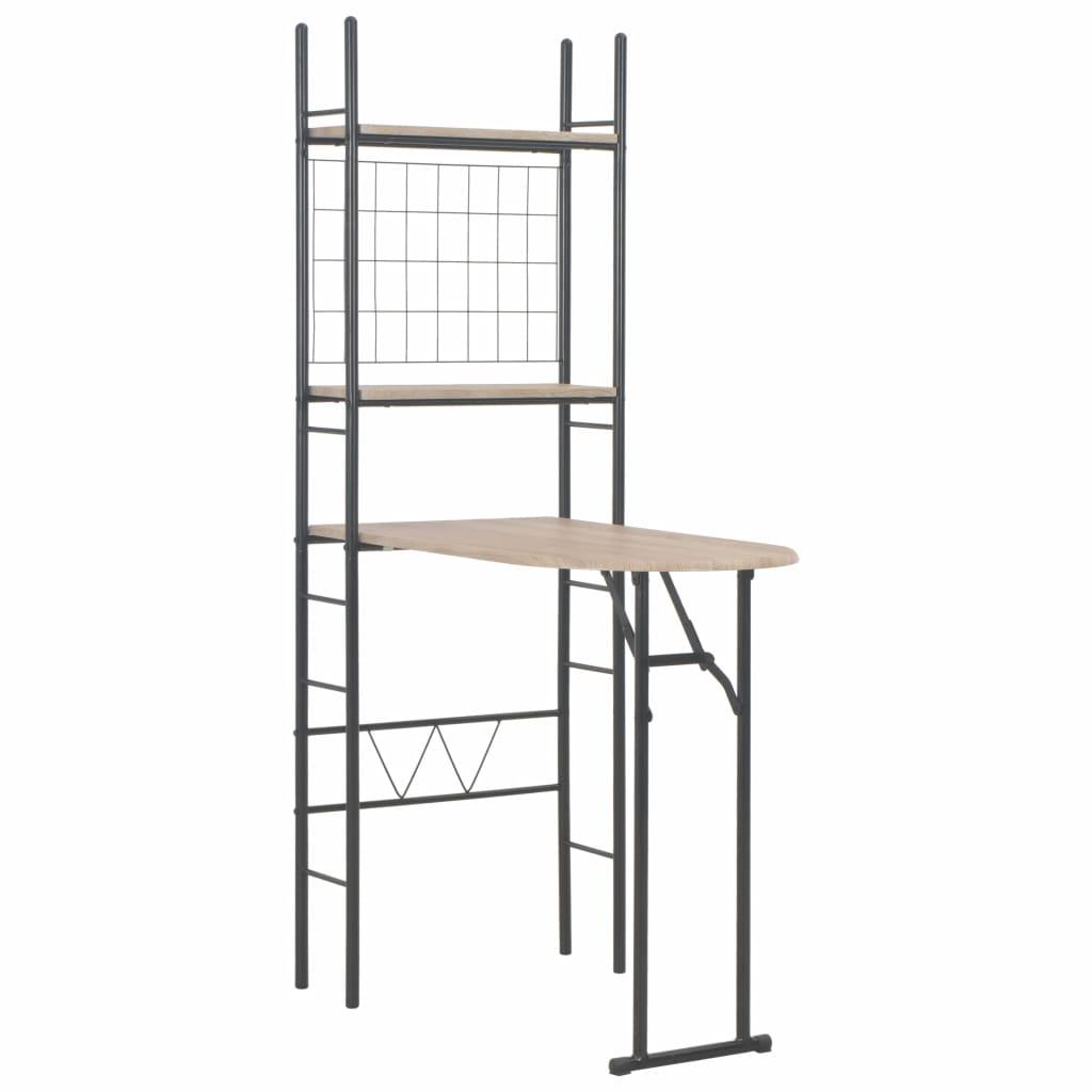 vidaXL Set mobilier bucătărie, suport depozitare, 3 piese, MDF și oțel