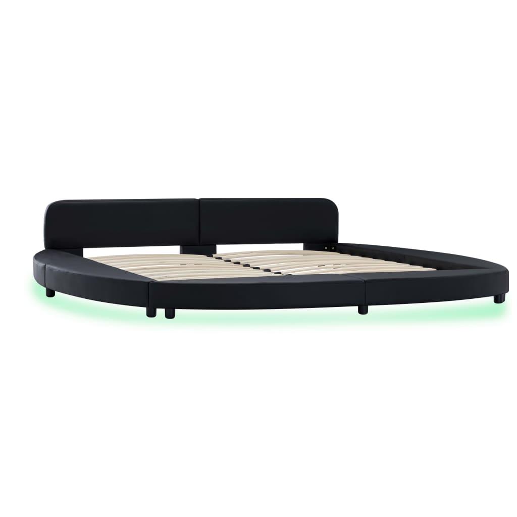 Cadru de pat cu LED, negru, 180 x 200 cm, piele artificială