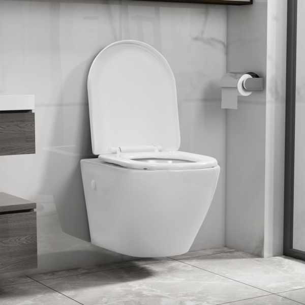 vidaXL Vas WC suspendat fără ramă, alb, ceramică