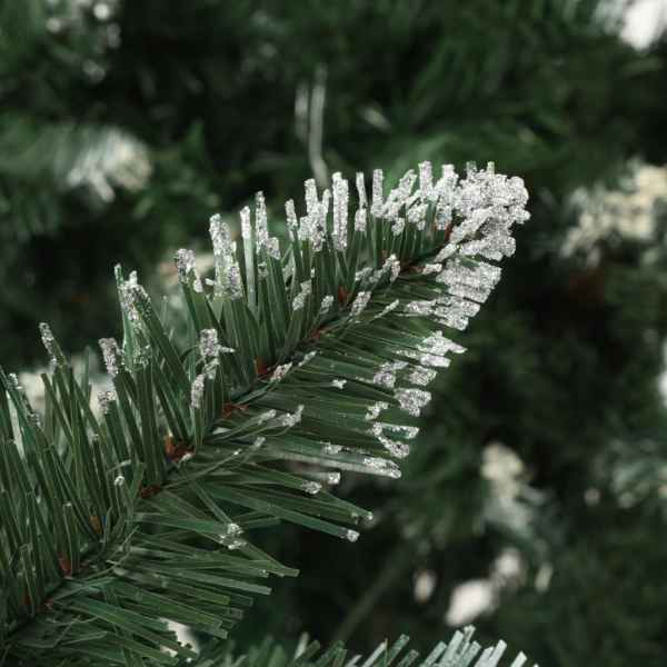 vidaXL Brad de Crăciun artificial cu conuri pin și sclipici alb 150 cm