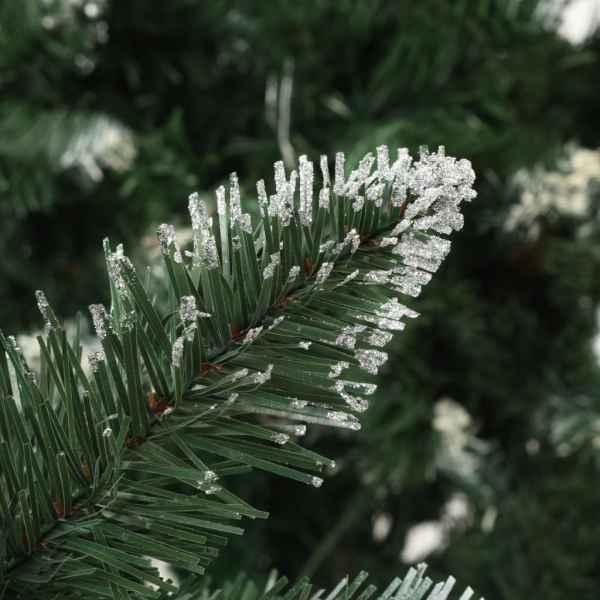 Brad de Crăciun artificial cu conuri pin și sclipici alb 210 cm