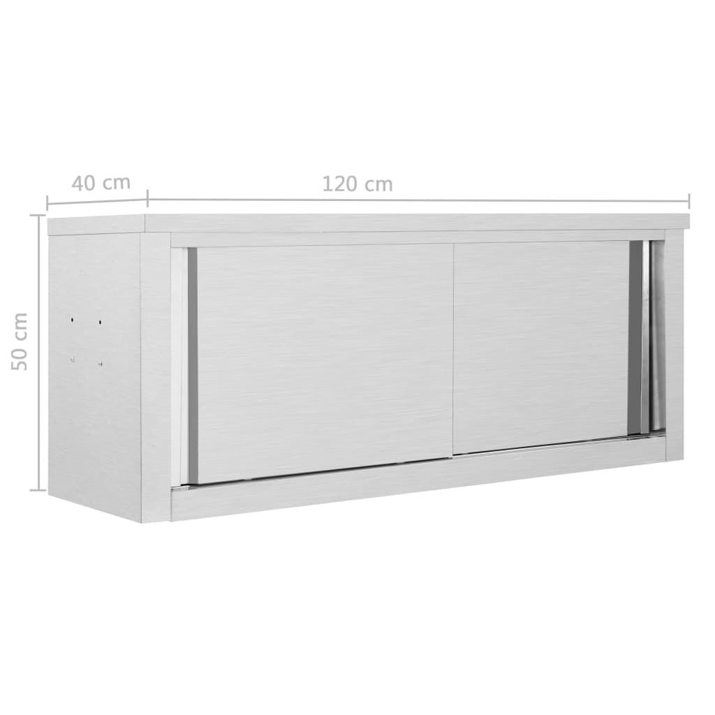 vidaXL Dulap bucătărie cu uși glisante, 120x40x50 cm, oțel inoxidabil