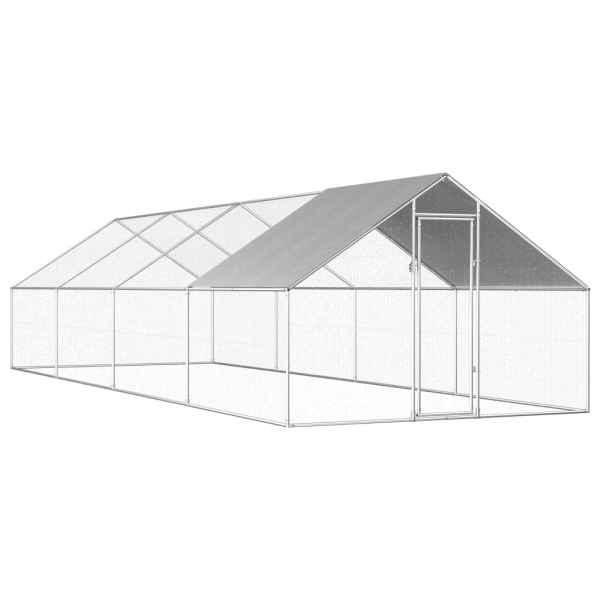 vidaXL Coteț de exterior pentru păsări, 2,75x8x1,92 m, oțel galvanizat