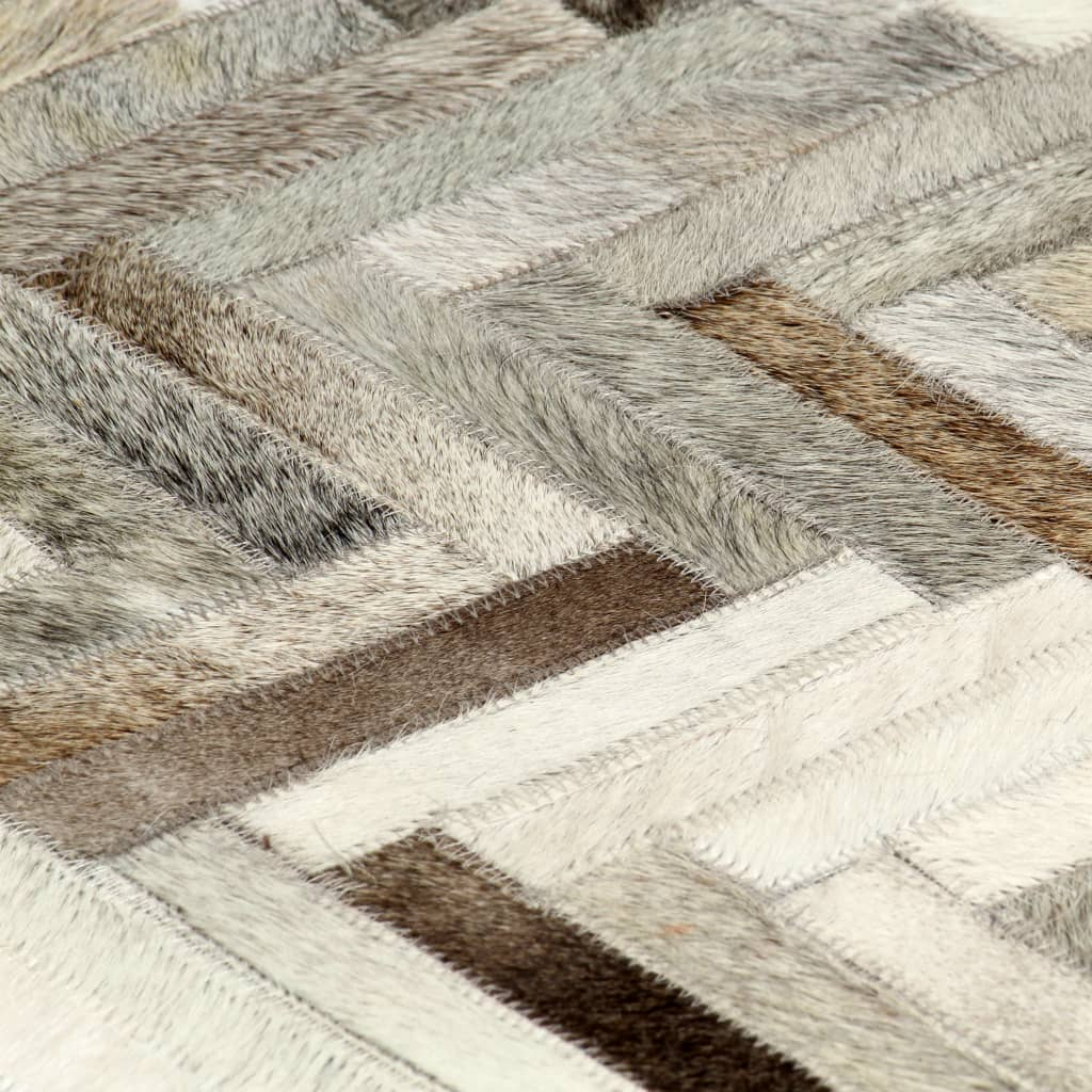 Covor, piele naturală cu păr, petice, gri/alb, 120 x 170 cm