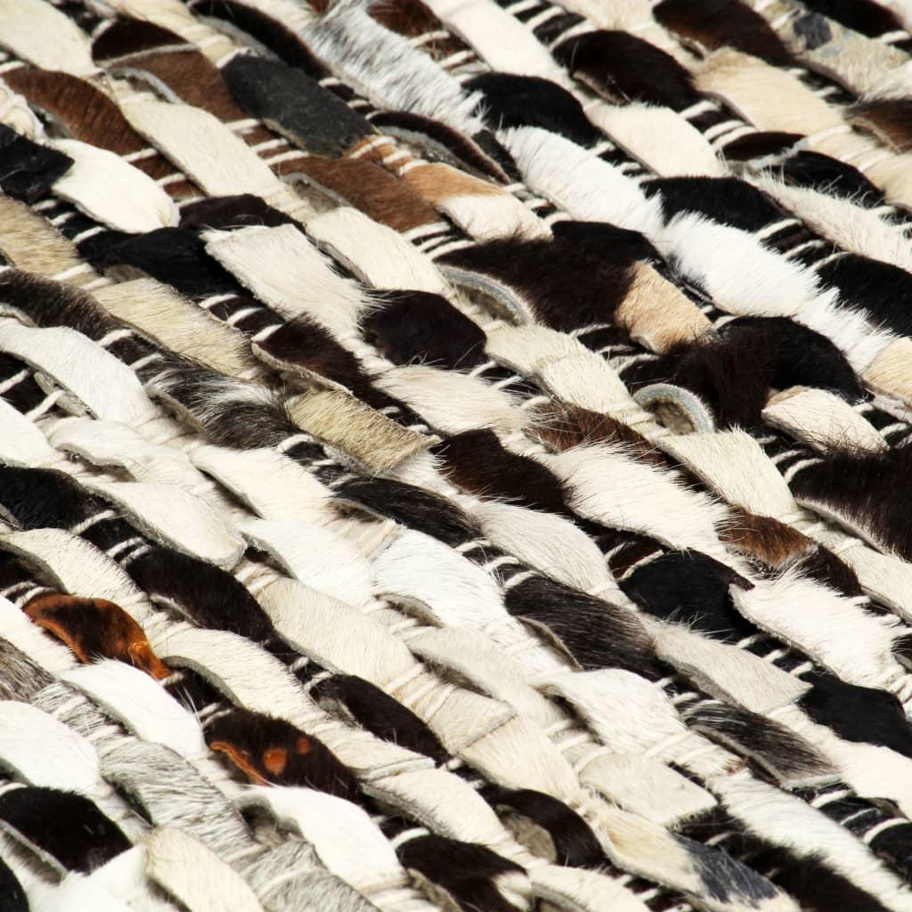 vidaXL Covor piele cu păr natural, negru și alb, 160 x 230 cm