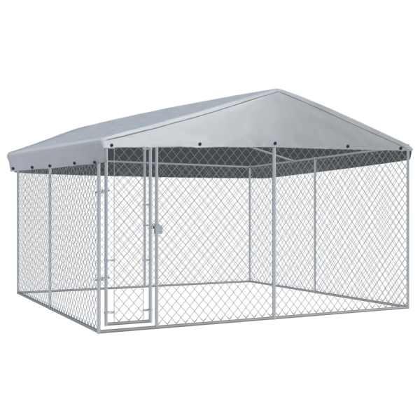 vidaXL Padoc de exterior cu acoperiș pentru câini, 382x382x225 cm