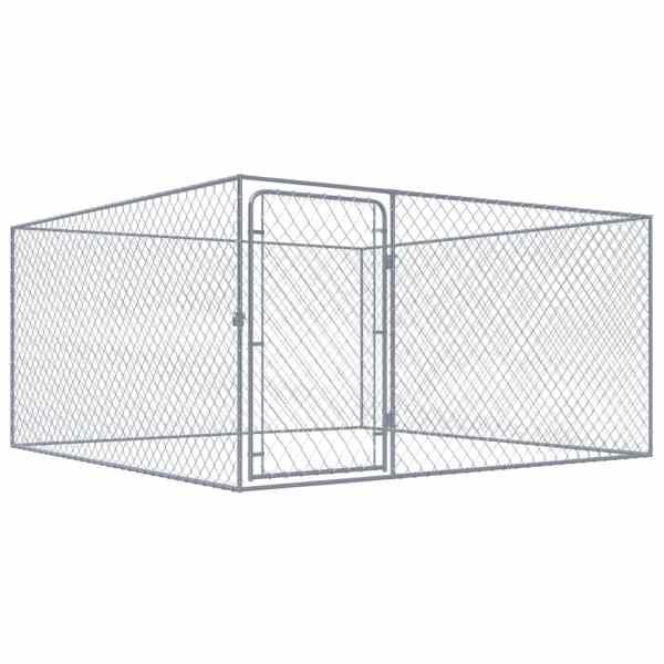 vidaXL Padoc pentru câini de exterior, 2 x 2 x 1 m, oțel galvanizat