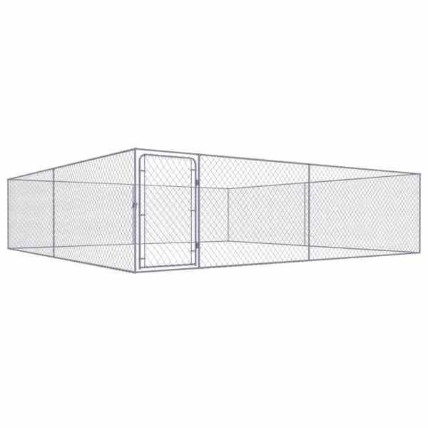 vidaXL Padoc pentru câini de exterior, 4 x 4 x 1 m, oțel galvanizat