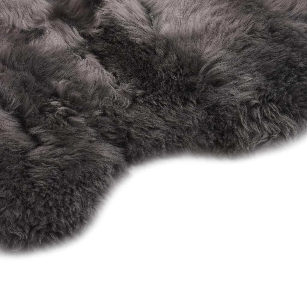 Covor din blană de oaie, gri deschis, 60 x 180 cm