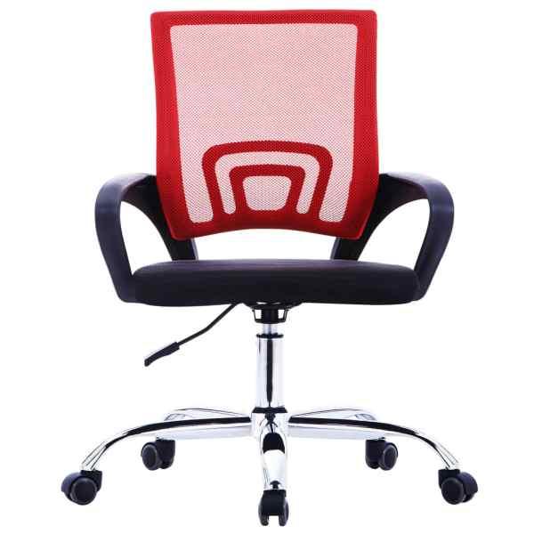 Scaun de birou cu spătar din plasă, roșu, material textil