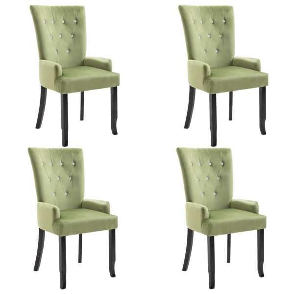 Scaun de bucătărie cu brațe, 4 buc., verde deschis, catifea