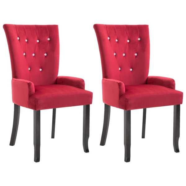 Scaun de bucătărie cu brațe, 2 buc., roșu, catifea