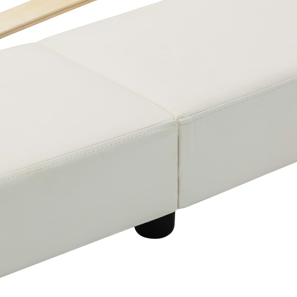 Cadru de pat, alb, 180 x 200 cm, piele ecologică