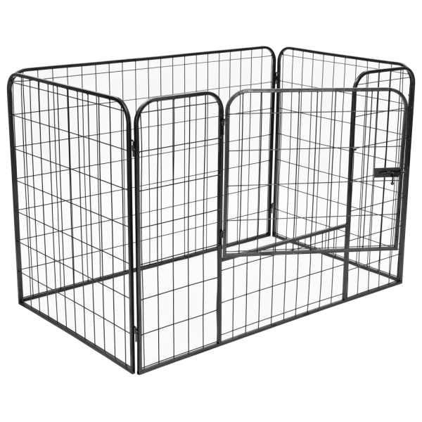 Țarc solid pentru câini, negru, 120x80x70 cm, oțel