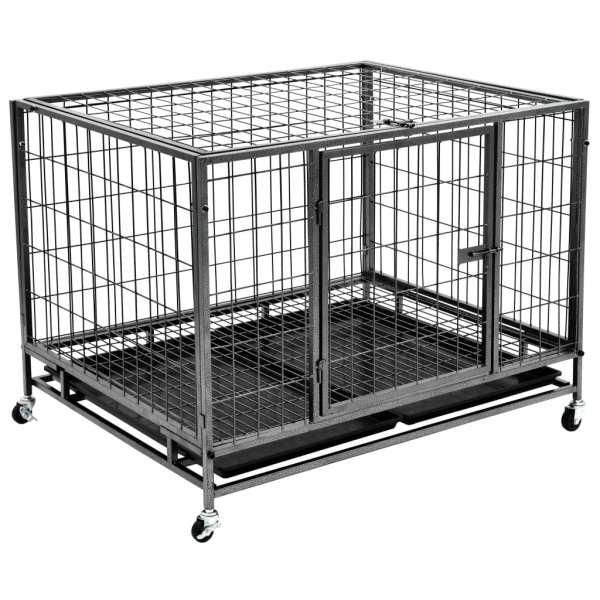 vidaXL Cușcă de câini rezistentă cu roți, 98 x 77 x 72 cm, oțel