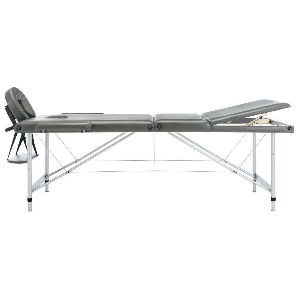 Masă de masaj cu 3 zone, cadru aluminiu, antracit, 186 x 68 cm