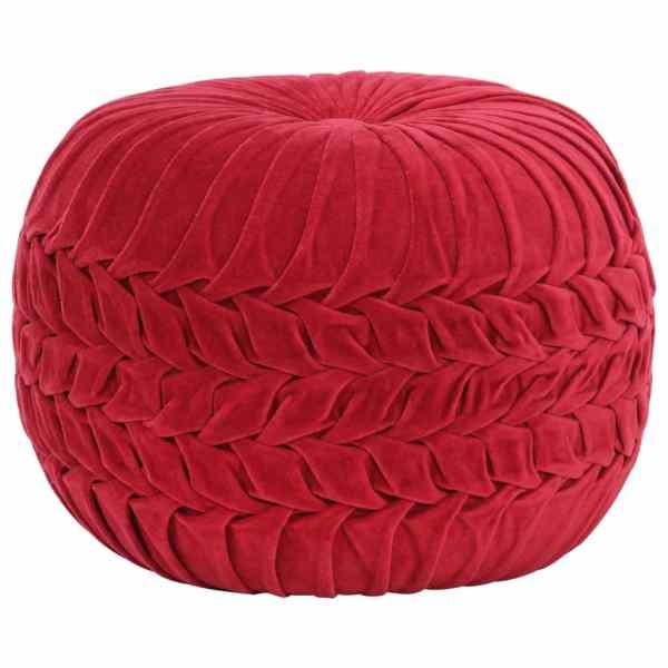 vidaXL Fotoliu puf, design romburi, roșu 40 x 30 cm, catifea de bumbac