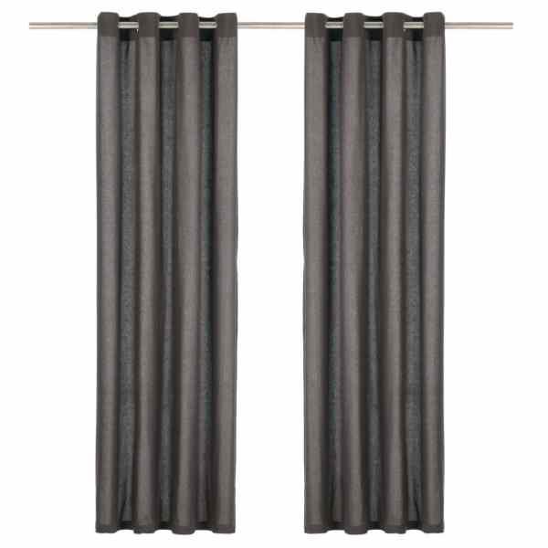 vidaXL Perdele cu inele metalice, 2 buc., antracit, 140×175 cm, bumbac