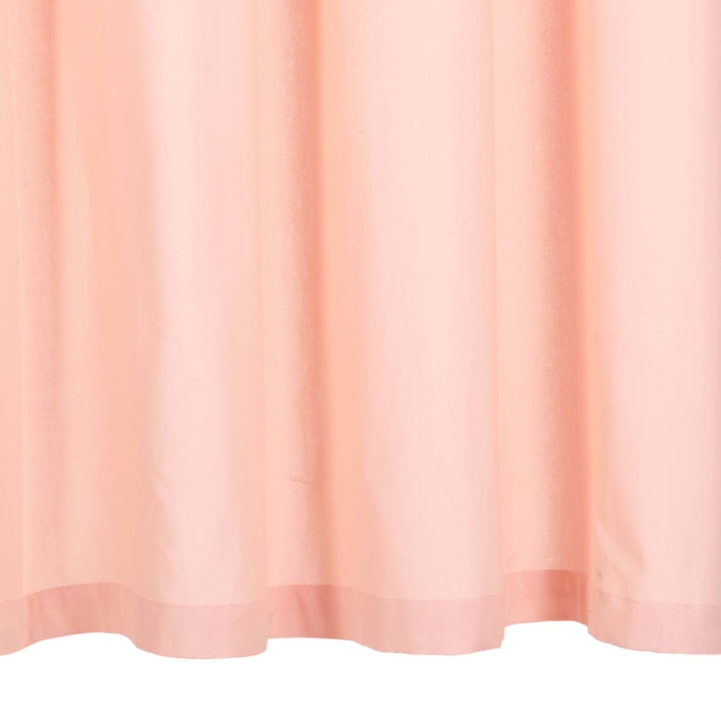 vidaXL Perdele cu inele metalice, 2 buc., roz, 140 x 245 cm, bumbac