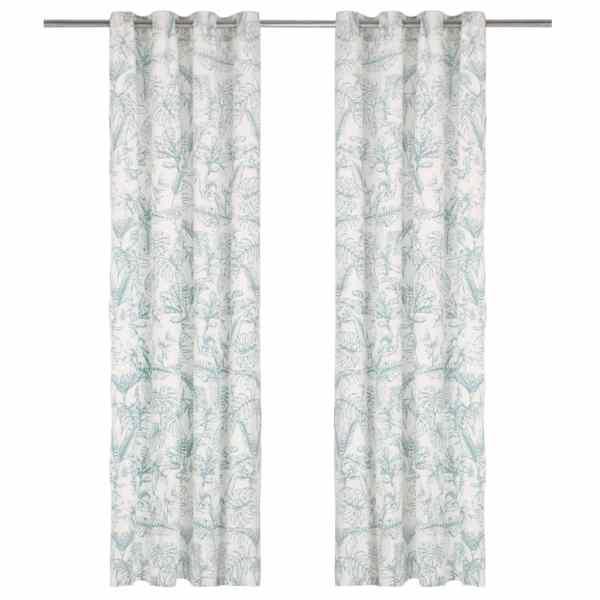 vidaXL Perdele cu inele metalice 2 buc. floral verde 140×245 cm bumbac