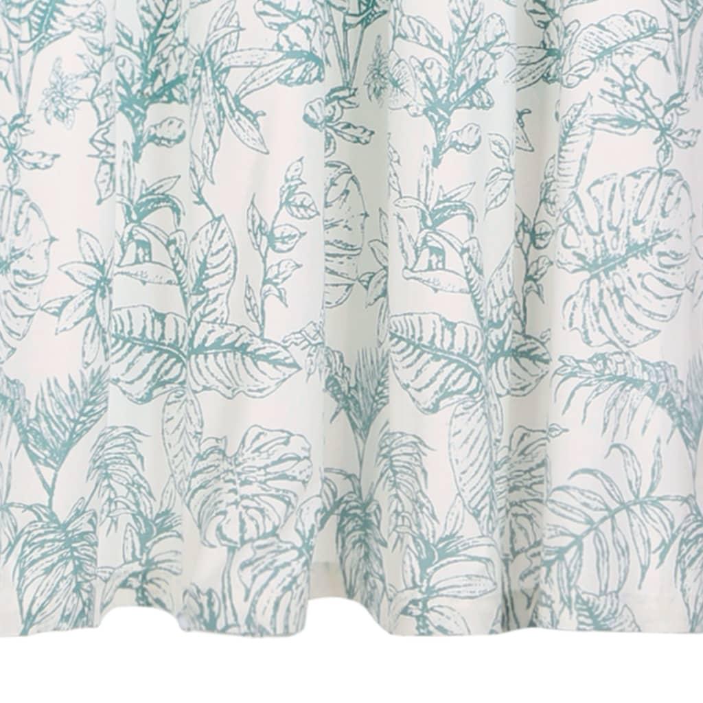 Perdele cu inele metalice 2 buc. floral verde 140×245 cm bumbac