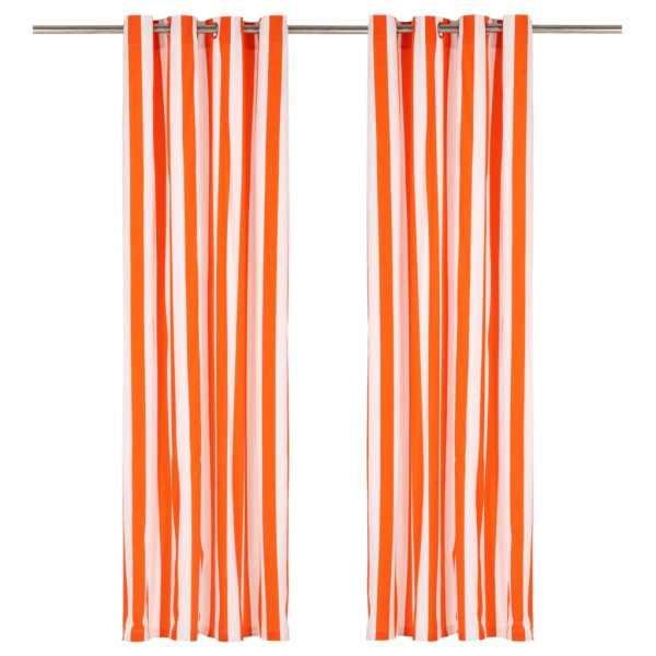 vidaXL Perdele cu inele metalice, 2 buc, portocaliu, 140×245 cm textil