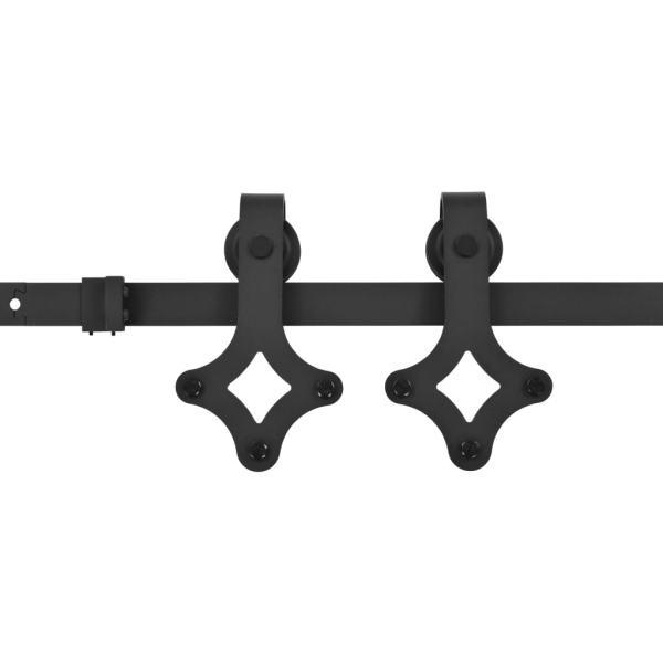 Set feronerie pentru uși glisante, negru, 200 cm, oțel